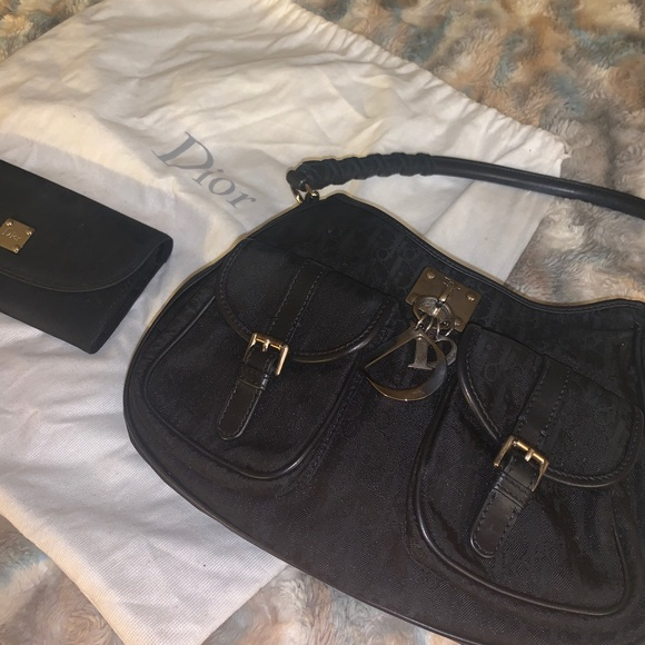Dior Handbags - Vintage black Christian Dior purse & wallet set